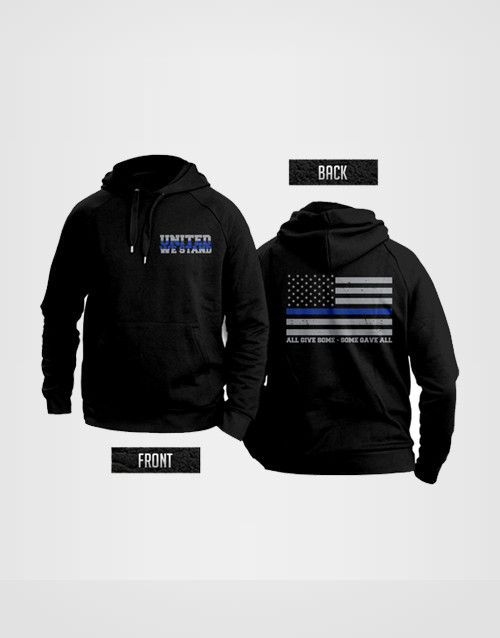 Thin blue Line flag United We Stand hooded sweatshirt support police! 4lfeLUR