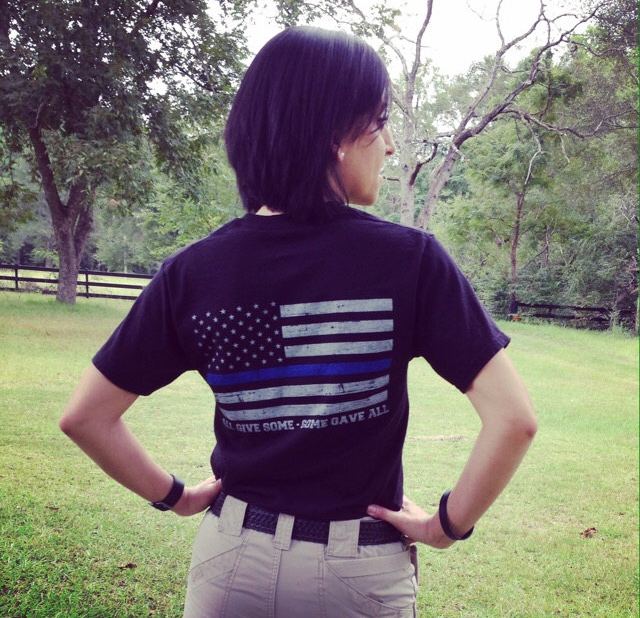 d636b907 United We Stand Thin Blue Line Flag T-Shirt (women)   Thinblueline ...